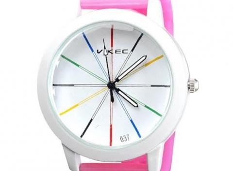 Dámske fosforové hodinky VIKEC v elegantnej ružovej či modrej farbe. Majte  čas pod kontrolou! 98a519e3b9a