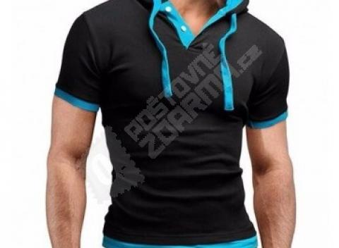 Pánske módne tričko s kapucňou a gombíkmi b6776b58603