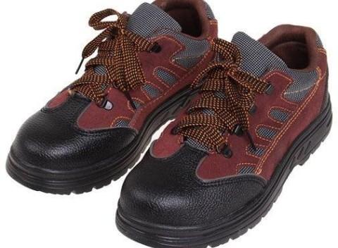 004ff618ff1a Nízke pracovné kožené topánky s vystuženou špičkou v čierno červenej farbe
