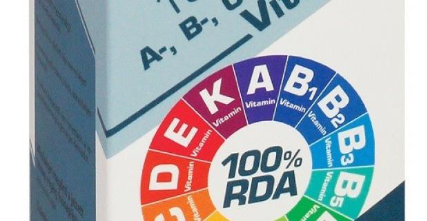 100% RDA A, B, C, D, E, K vitamín - na posilnenie imunity. Multivitamín je ideálny pre človeka na prísun potrebných vitamínov za deň.