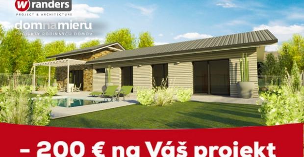 Rozmýšľate nad bývaním vo vlastnom? Využite skvelú zľavu 200€ na projekt rodinného domu podľa vašich predstáv.