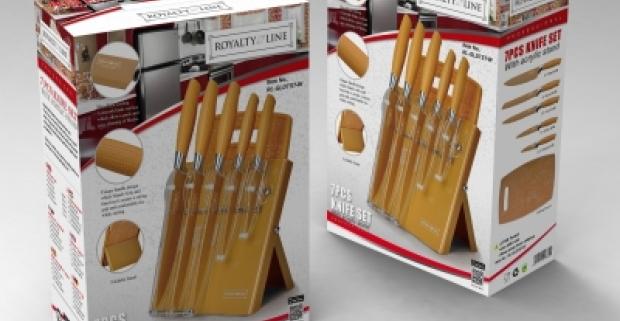 Royalty line - praktická sada nožov 7ks, s akrylovým stojanom a podložkou na krájanie. Doplnok, ktorý nesmie chýbať v žiadnej kuchyni.