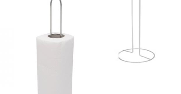 Stabilný pochromovaný držiak papierových utierok, vysoký 33cm. Elegantný a praktický doplnok do vašej modernej kuchyne.