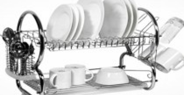 Poschodový odkvapkávač na riad z nehrdzavejúceho kovu. Výborne sa hodí na odkvapkanie pohárov, príborov, tanierov.