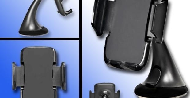 Univerzálny držiak na mobilný telefón. Ideálna pomôcka do automobilu. Vďaka kĺbu je držiak nastaviteľný horizontálne aj vertikálne.