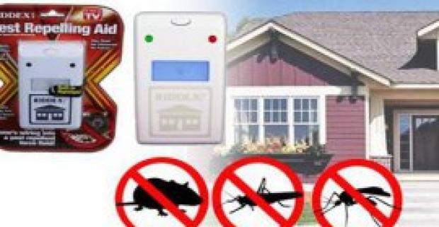 Elektrický plašič hlodavcov a hmyzu Riddex. Účinne odpudzuje šváby, potkany, komáre, mravce, myši, muchy, pavúky či mole.