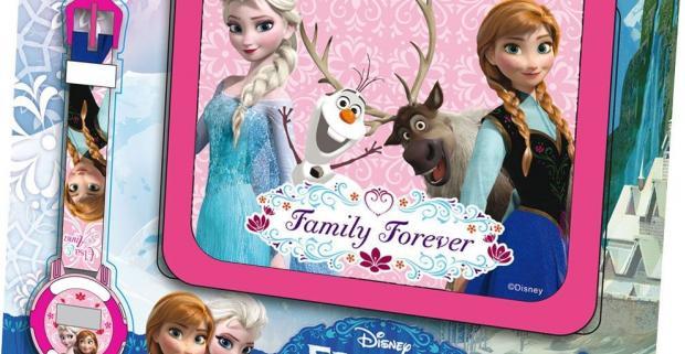Darčeková sada peňaženka a hodinky s motívom kreslených postáv obľúbeného filmu Frozen, s ktorými urobíte radosť nejednej malej parádnici.