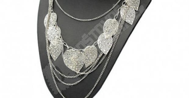 2b832297a Výrazný viacvrstvový náhrdelník s lístkami v striebornej farbe. Doprava  zdarma.
