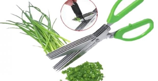 Masívne nožnice s 5-mi ostrými oceľovými čepeľami. Vynikajúce pre strihanie byliniek a zelených vňatí, pažítky, petržlenu, jarnej cibuľky.