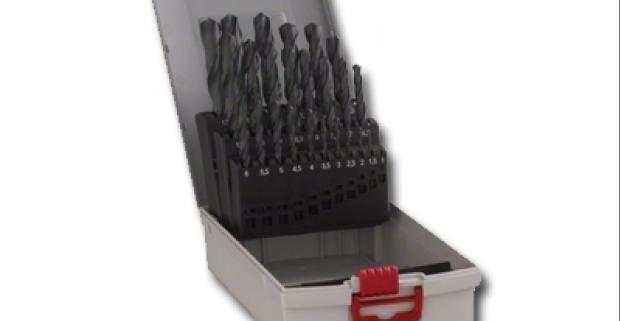 Veľká sada vrtákov 25 ks, jednotlivé veľkosti sú uložené v efektnej kovovej krabici.