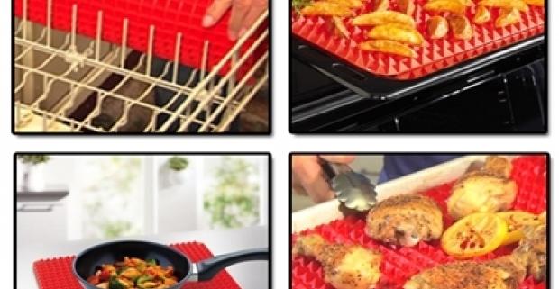 Podložka na pečenie mäsa s nepriľnavým povrchom. Použiteľná v bežnej rúre do do 200 °C aj v mikrovlnke.