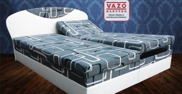 Čalúnená posteľ Izabela v modernom dizajne s vloženými zdravotnými polyuretánovými matracmi uloženými na polohovateľnom pevnom podklade.