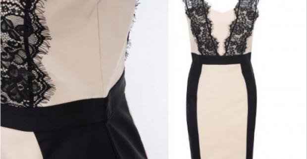 30a03f1e2e84 Elegantné čierno-béžové dámske šaty s čipkou Paper Dolls. Šaty sa vďaka  puzdrovému strihu hodia úplne na každú formálnu príležitosť.