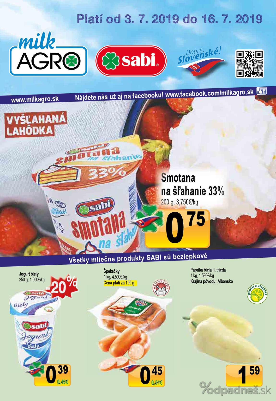 1. stránka Milk agro letáku